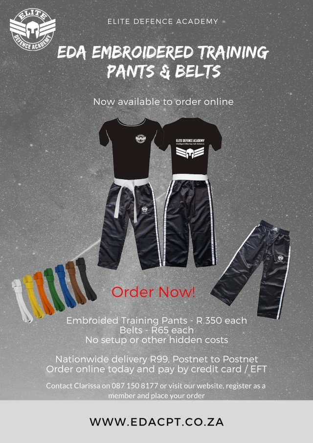 EDA Embroided Training Pants and Belts